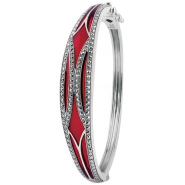 BE416   Red Enamel and Marcasite Bangle Sterling Silver Ari D Norman