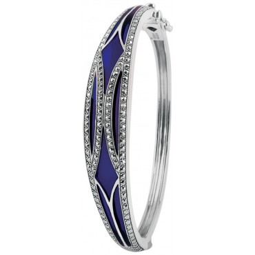 BE418   Blue Enamel and Marcasite Bangle Sterling Silver Ari D Norman