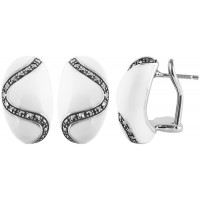 EA570   White Enamel and Marcasite Bullet Earrings Sterling Silver Ari D Norman