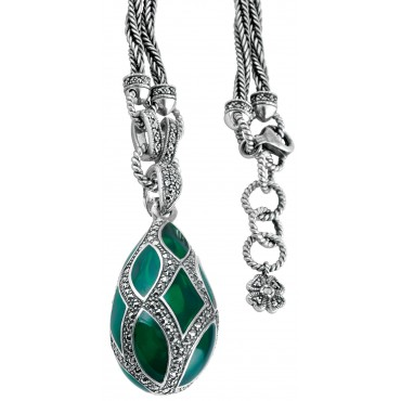 NK504   Green Enamel and Marcasite Teardrop Pendant on Chain Sterling Silver Ari D Norman