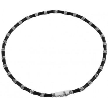 NK539   Black Enamel and Marcasite Necklace Sterling Silver Ari D Norman