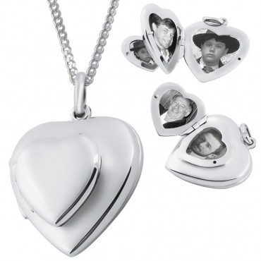 PT419   Four Part Heart Locket on Chain Sterling Silver Ari D Norman