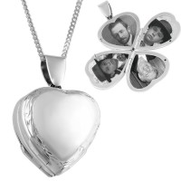 PT462   Victorian Four Part Heart Family Locket on Chain Sterling Silver Ari D Norman