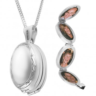 PT463   Victorian Four Part Oval Locket on Chain Sterling Silver Ari D Norman
