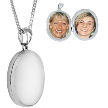 PT466   Plain Medium Oval Locket on Chain Sterling Silver Ari D Norman