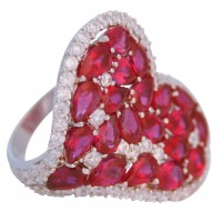 RG550   Heart Ring With Red Cubic Zirconia Sterling Silver Ari D Norman