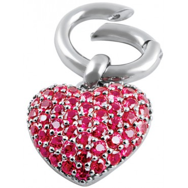 PT496   Red Crystal Heart Pendant with Spring-Loaded Clip Fitting Sterling Silver Ari D Norman