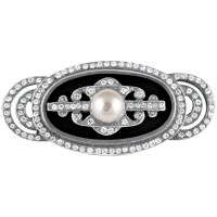 B210   Black Enamel, Pearl and Crystal Brooch Sterling Silver Ari D Norman