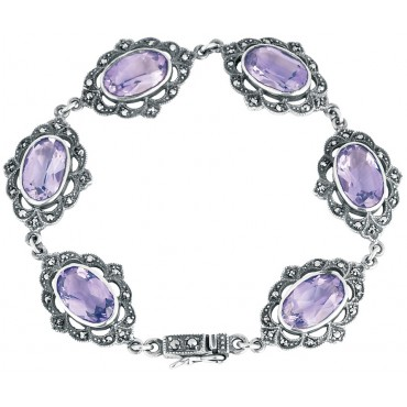 BT207 - Sterling silver marcasite and amethyst Victorian style bracelet