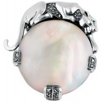 B326 - Sterling silver and mother of pearl panther brooch
