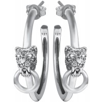 EA606   Panther Hoop Earrings Sterling Silver Ari D Norman