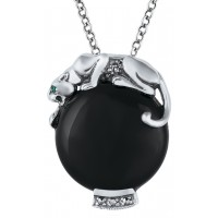 NK225   Onyx Panther Pendant on Chain Sterling Silver Ari D Norman