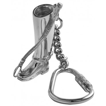 KPT455   Riding Boot and Crop Key Ring Sterling Silver Ari D Norman
