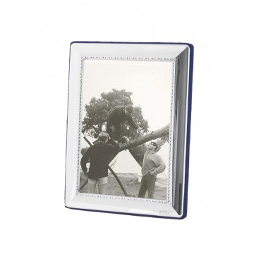 FR650   Egg And Bead Photo Frame With Velvet Back 10cm x 15cm Sterling Silver Ari D Norman
