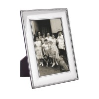 FR653   Beaded Photo Frame With Wooden Back 10cm x 15cm Sterling Silver Ari D Norman
