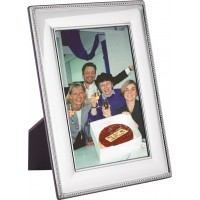 FR654   Beaded Photo Frame With Wooden Back 20cm x 25cm Sterling Silver Ari D Norman