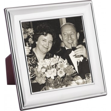 FR682   Plain Photo Frame With Wooden Back 13cm x 13cm Sterling Silver Ari D Norman