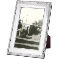 FR715   Ribbon And Reed Photo Frame With Wooden Back 20cm x 25cm Sterling Silver Ari D Norman
