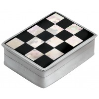 PB583   Ari D Norman Sterling Silver Onyx and Mother of Pearl Checked Pill Box