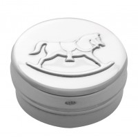 PB612   Ari D Norman Sterling Silver Embossed Rocking Horse Pill Box