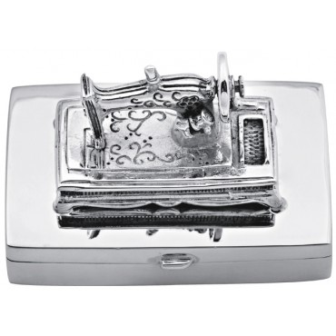 PB434   Ari D Norman Sterling Silver Sewing Machine Pill Box