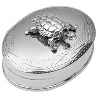 PB586   Ari D Norman Sterling Silver Pill Box with Moving Turtle
