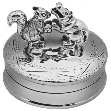 PB597   Ari D Norman Sterling Silver Dancing Hippo and Squirrel Pill Box