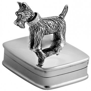 PB604   Ari D Norman Sterling Silver Pill Box with Moving Scottie Dog