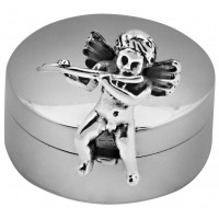 PB609   Ari D Norman Sterling Silver Cherub with Flute Pill Box