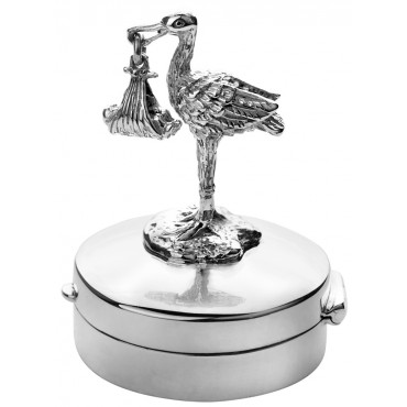 PB617   Ari D Norman Sterling Silver Stork and Baby Pill Box