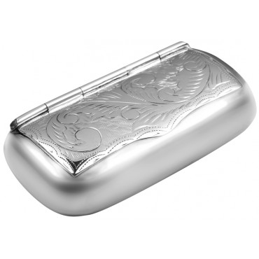 PB432   Ari D Norman Sterling Silver Engraved Victorian Style Pill Box / Snuffbox