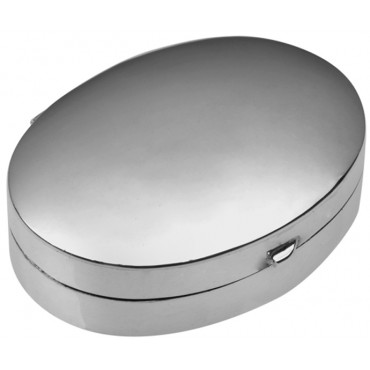 PB403   Ari D Norman Sterling Silver Medium Plain Oval Hinged Pill Box