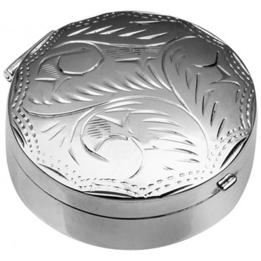 PB416   Ari D Norman Sterling Silver Medium Engraved Round Hinged Pill Box