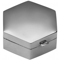 PB422   Ari D Norman Sterling Silver Medium Plain Hexagonal Hinged Pill Box