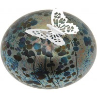 GT2205 – Sterling Silver Butterfly and Multi-coloured Molten Glass Paperweight
