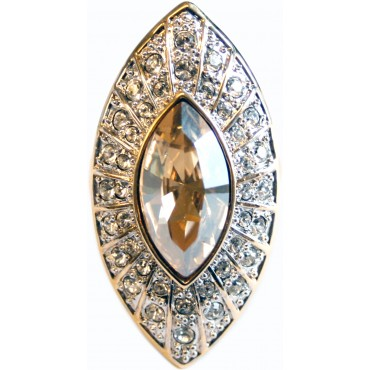 JRG8   Gold Plated Edwardian Style Ring With Austrian Crystals Jewelari of London
