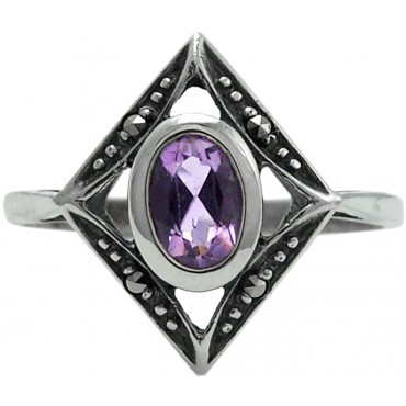 RG211   Ring with Marcasite and Amethyst Sterling Silver Ari D Norman