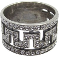 RG220   Ring with Crystal Greek Key Pattern Sterling Silver Ari D Norman