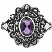 RG228 - Sterling Silver Ring with Marcasite and Amethyst