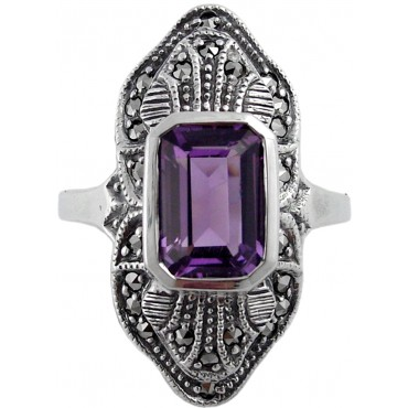 RG233   Ring with Marcasite and Amethyst Sterling Silver Ari D Norman