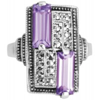 RG244  Sterling silver ring with marcasite and amethyst