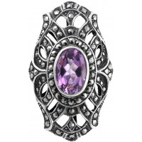 RG252   Ring with Marcasite and Amethyst Sterling Silver Ari D Norman
