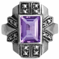 RG253   Ring With Marcasite and Amethyst Sterling Silver Ari D Norman