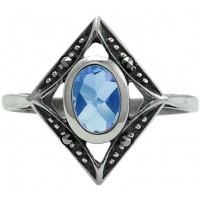 RG267 - Sterling Silver Ring With Marcasite and Genuine Synthetic Aquamarine
