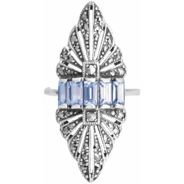 RG274   Ring With Marcasite and Genuine Synthetic Aquamarine Sterling Silver Ari D Norman