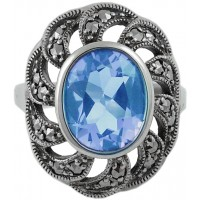 RG276   Marcasite and Genuine Synthetic Aquamarine Sterling Silver Ari D Norman
