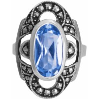 RG278 - Sterling Silver Ring With Marcasite and Genuine Synthetic Aquamarine