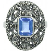 RG280   Ring with Marcasite and Genuine Synthetic Aquamarine Sterling Silver Ari D Norman