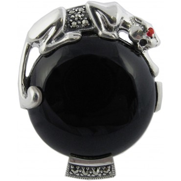 RG295   Black Onyx Panther Ring Sterling Silver Ari D Norman