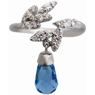 RG300   Ring with Blue Crystal Drop Sterling Silver Ari D Norman